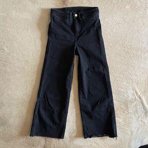H&M black wide leg denim pants - 4